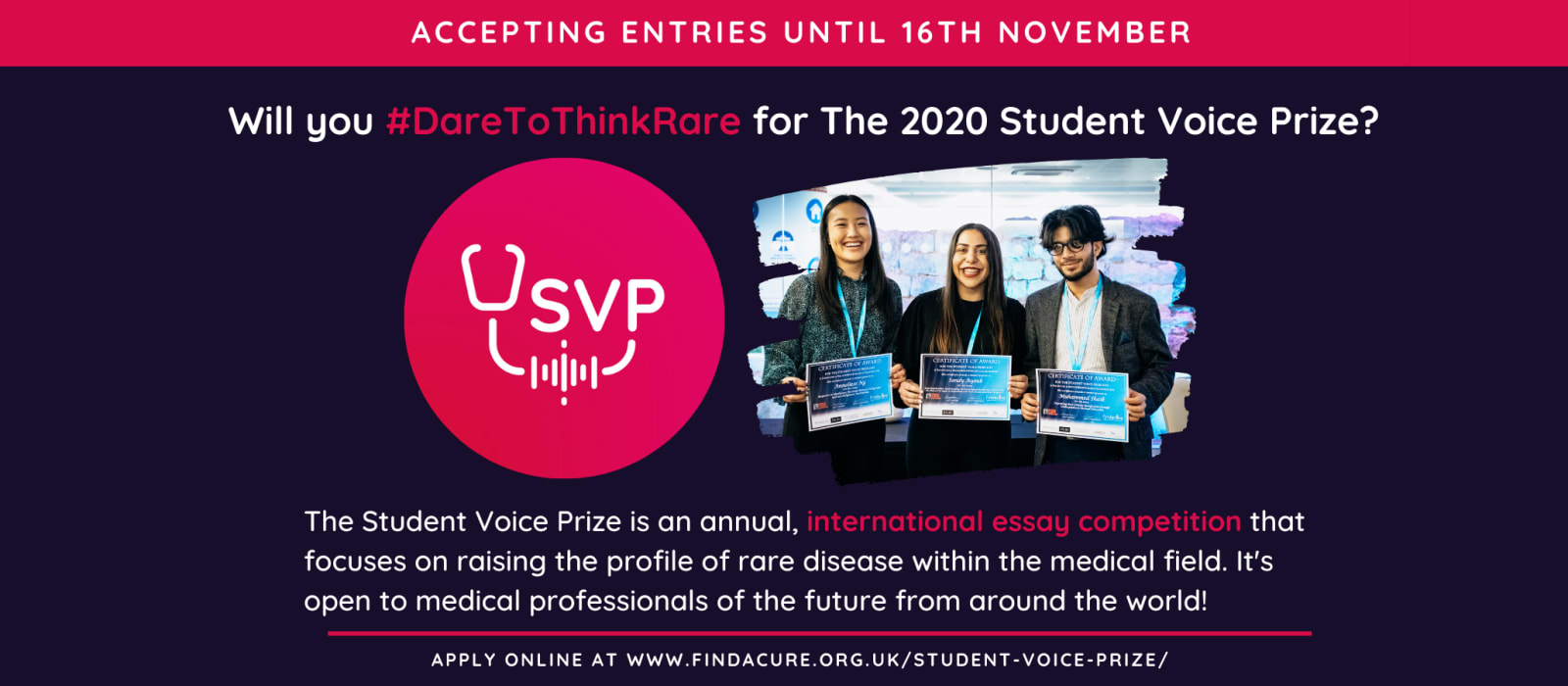 A banner explaining what the Student Voice Prize competition is